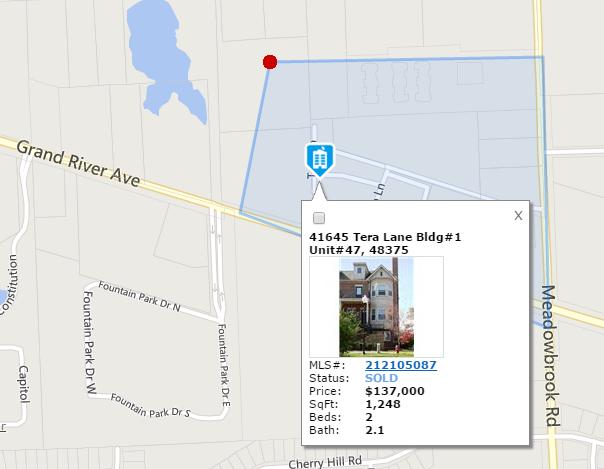 Gateway Village Novi MI Sold Map