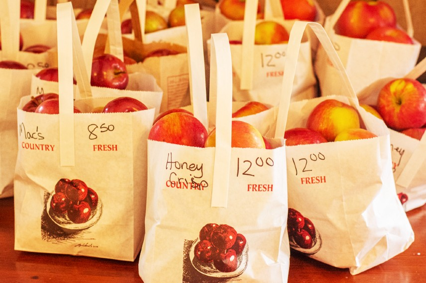 Fresh, bagged apples for sale at Parmenter's Cider Mill in Michigan