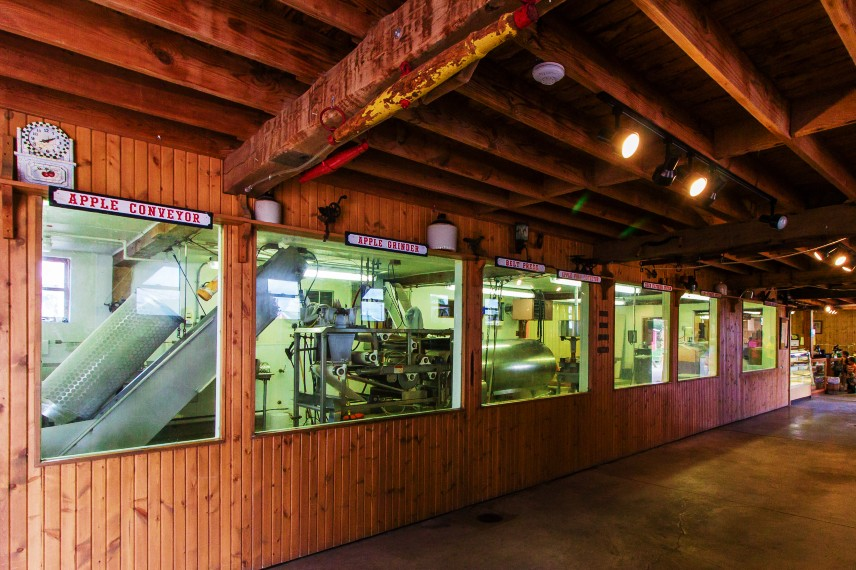 A view of how cider is made with various apple processing machines at Westview Orchard in Michigan