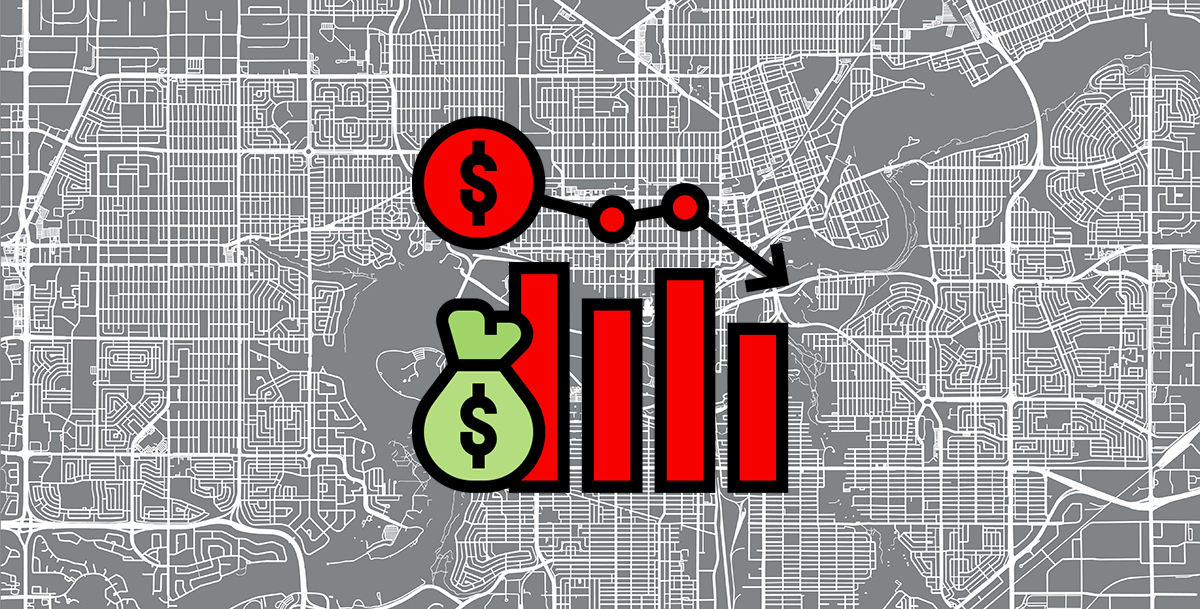 An image of a map with a cost of living icon on top of it