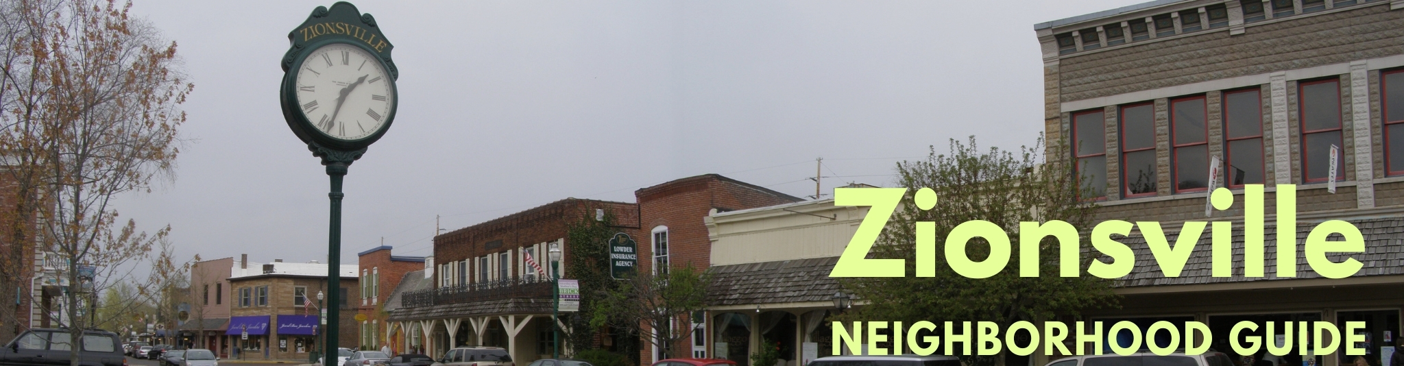 Downtown Zionsville Indiana has a beautiful Main Street.