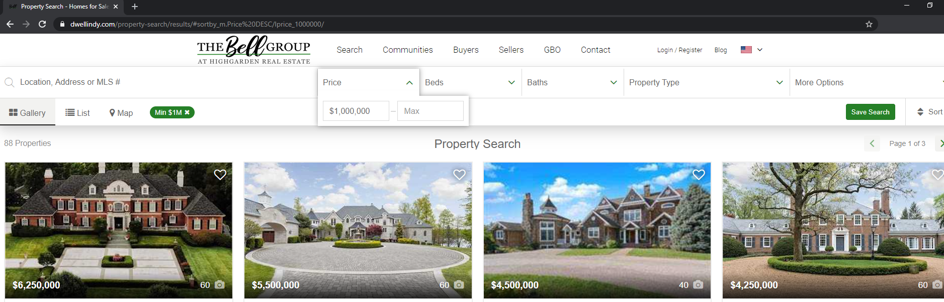 search for one million dollar listings