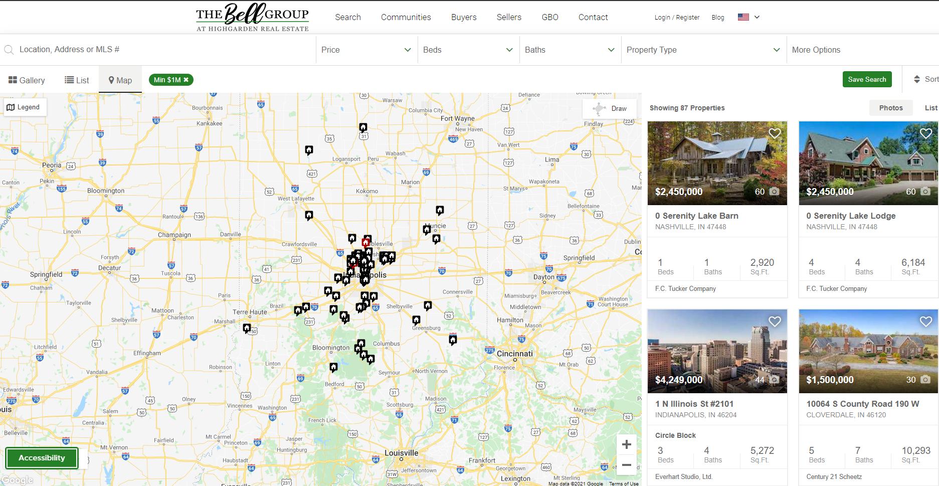 a map of million dollar listings