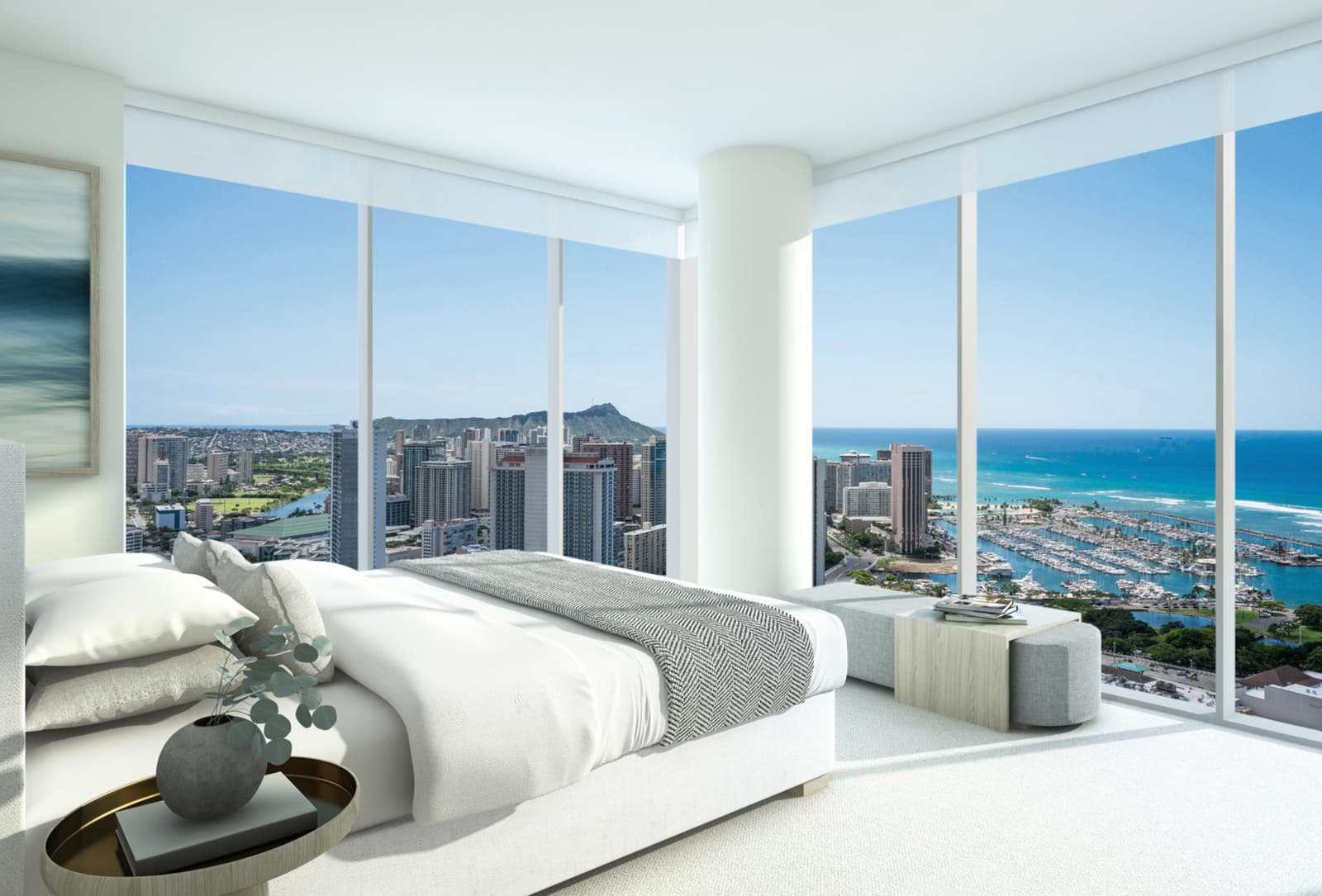 Sky Ala Moana Corner Bedroom With Floor To Ceiling Panoramic View