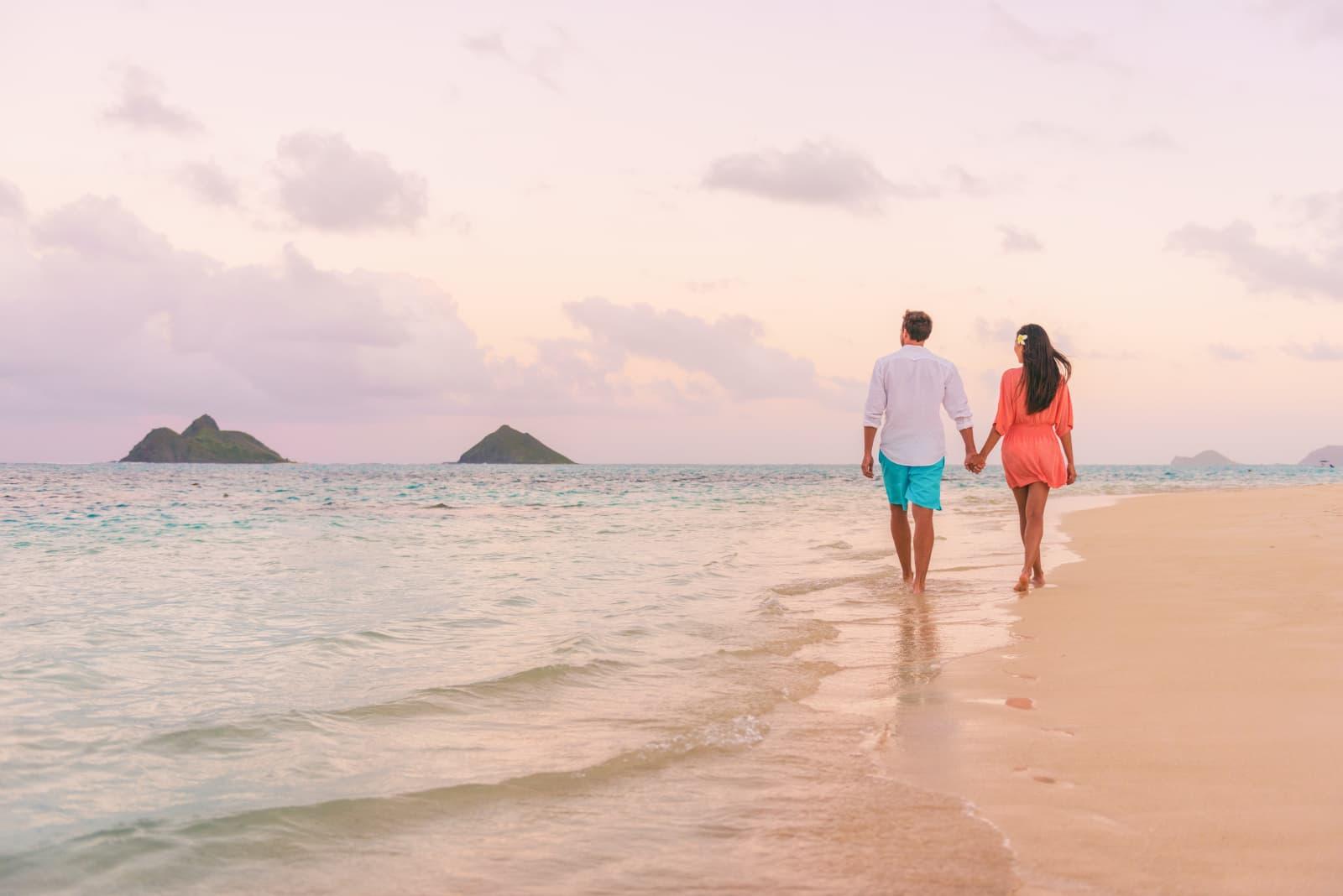 Couple Walking On Lanikai Beach