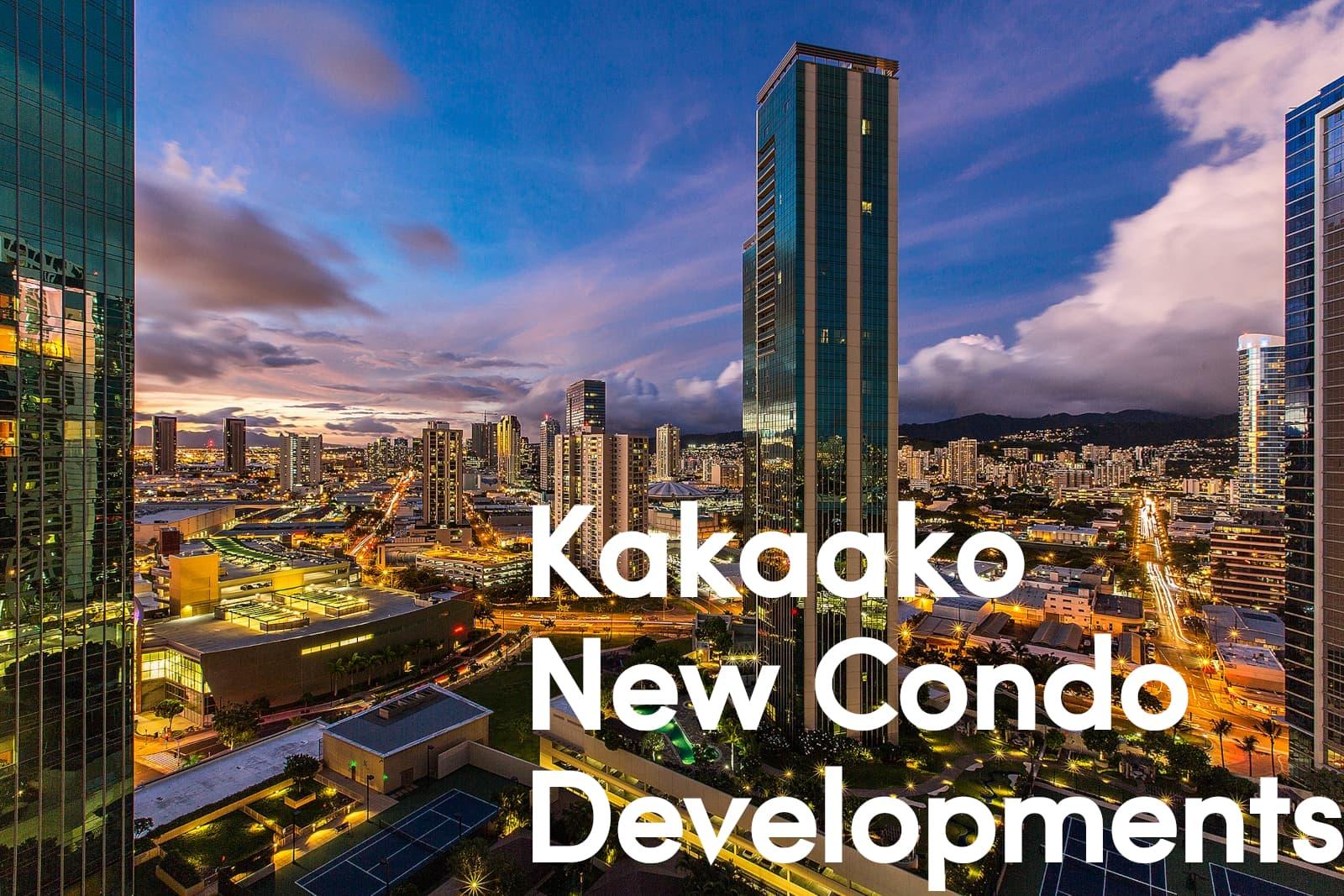 Kakaako New Condo Developments overlaid over a photo of Kakaako at night