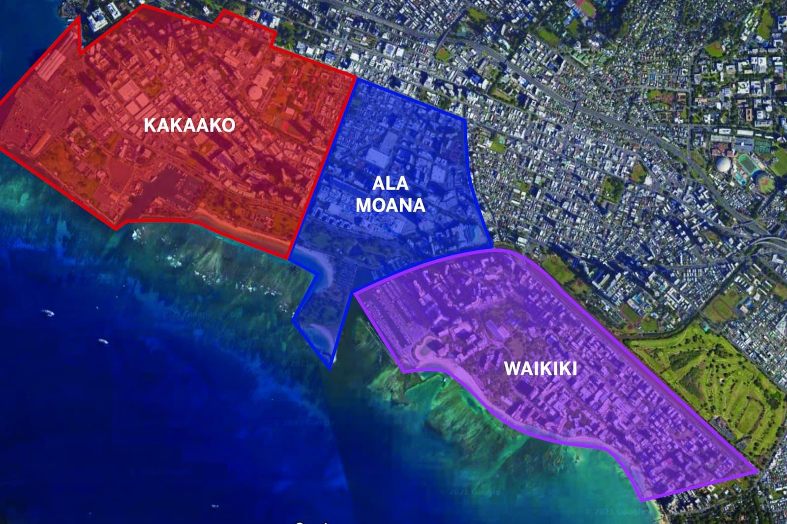 Map showing the Kakaako, Ala Moana, and Waikiki areas of Metro Honolulu