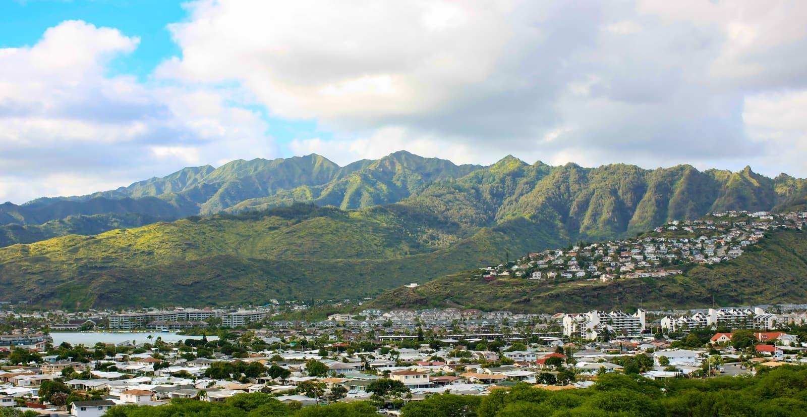 Aerial shot overlooking Hawaii Kai and the Mariners Ridge neighborhood