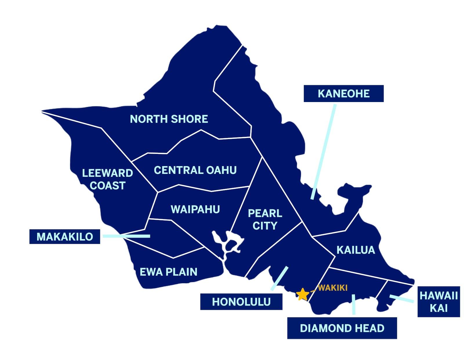 Oahu Cities Map