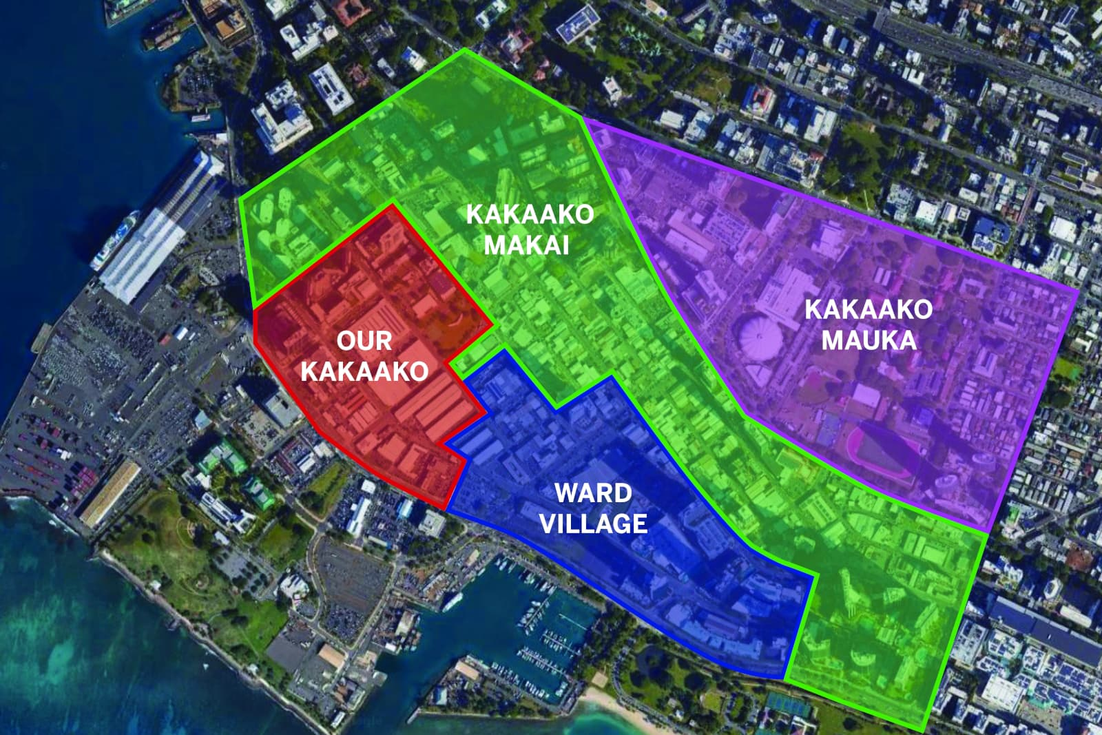 Map showing the four main regions of the Kakaako area in Metro Honolulu