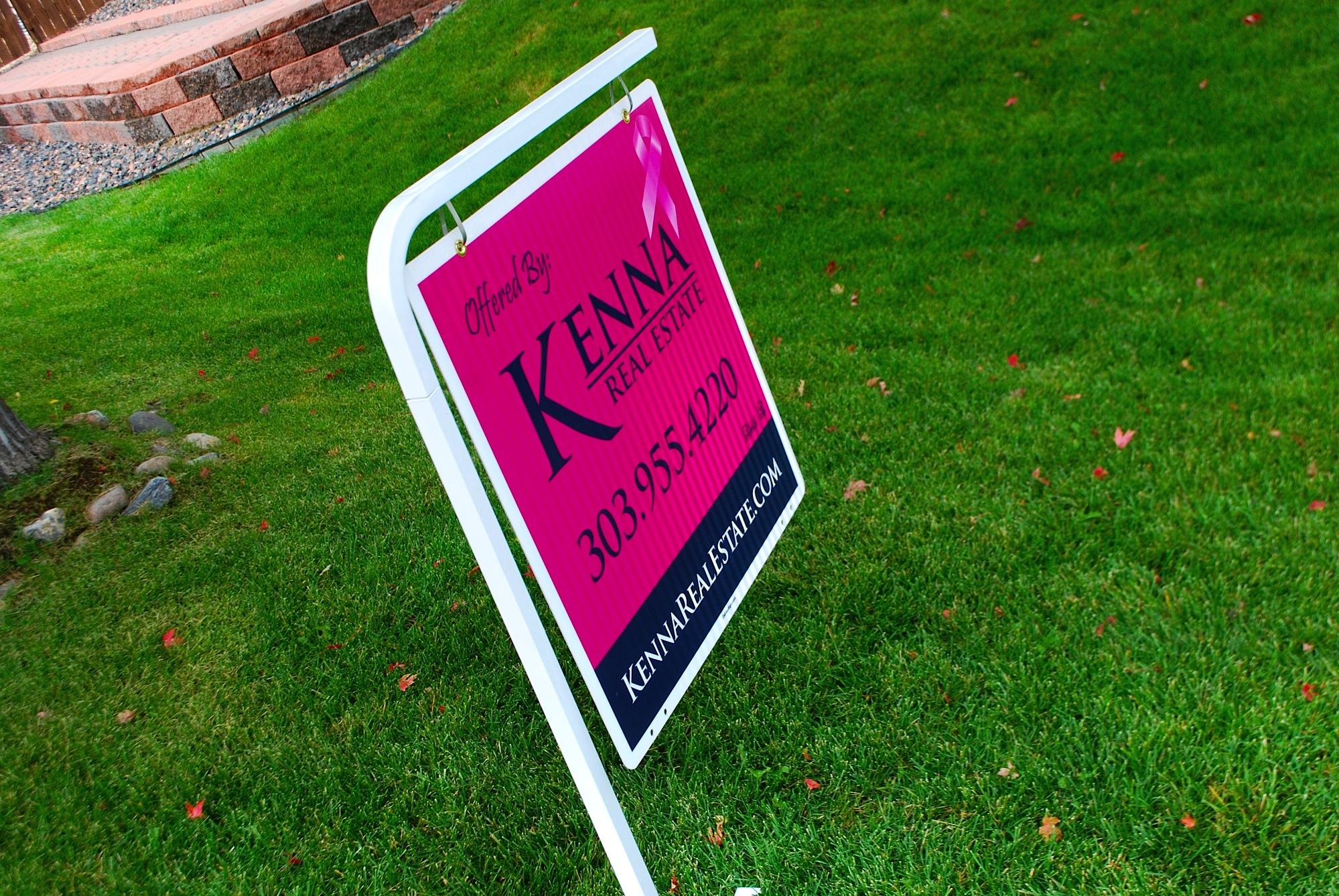Kenna Real Estate pink Sign