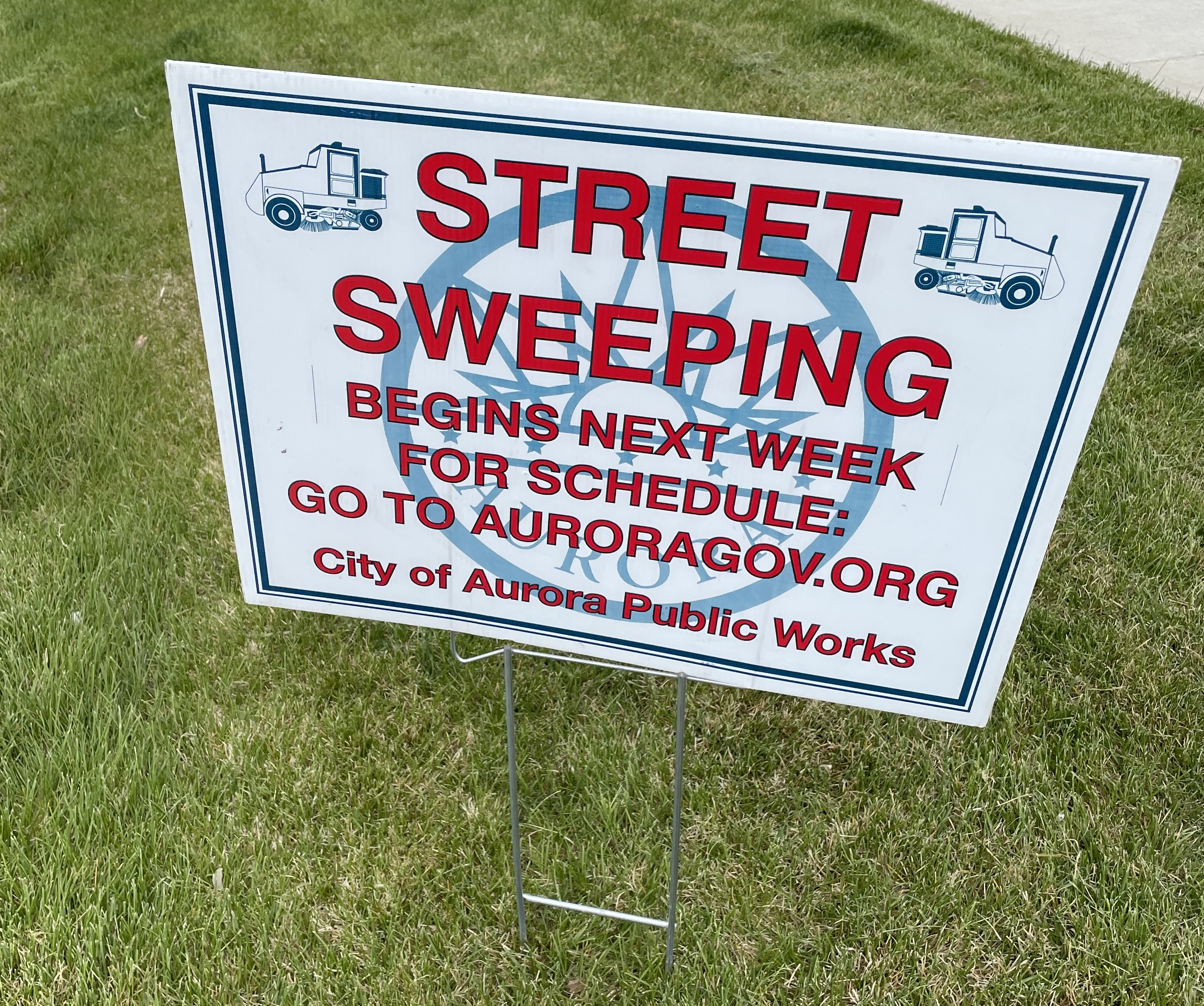 Aurora CO Street Sweeping sign