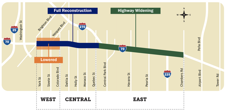 CDOT Central 70 Project Map
