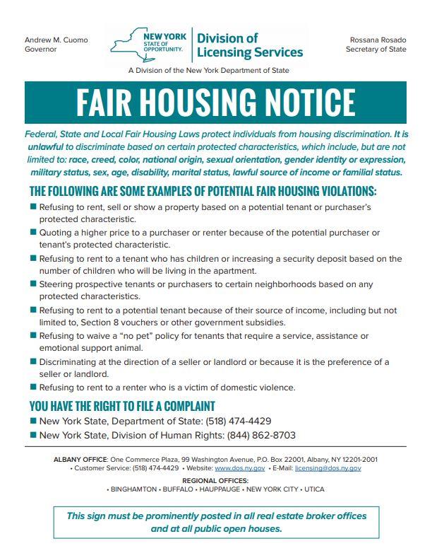 NY Fair Housing Notice