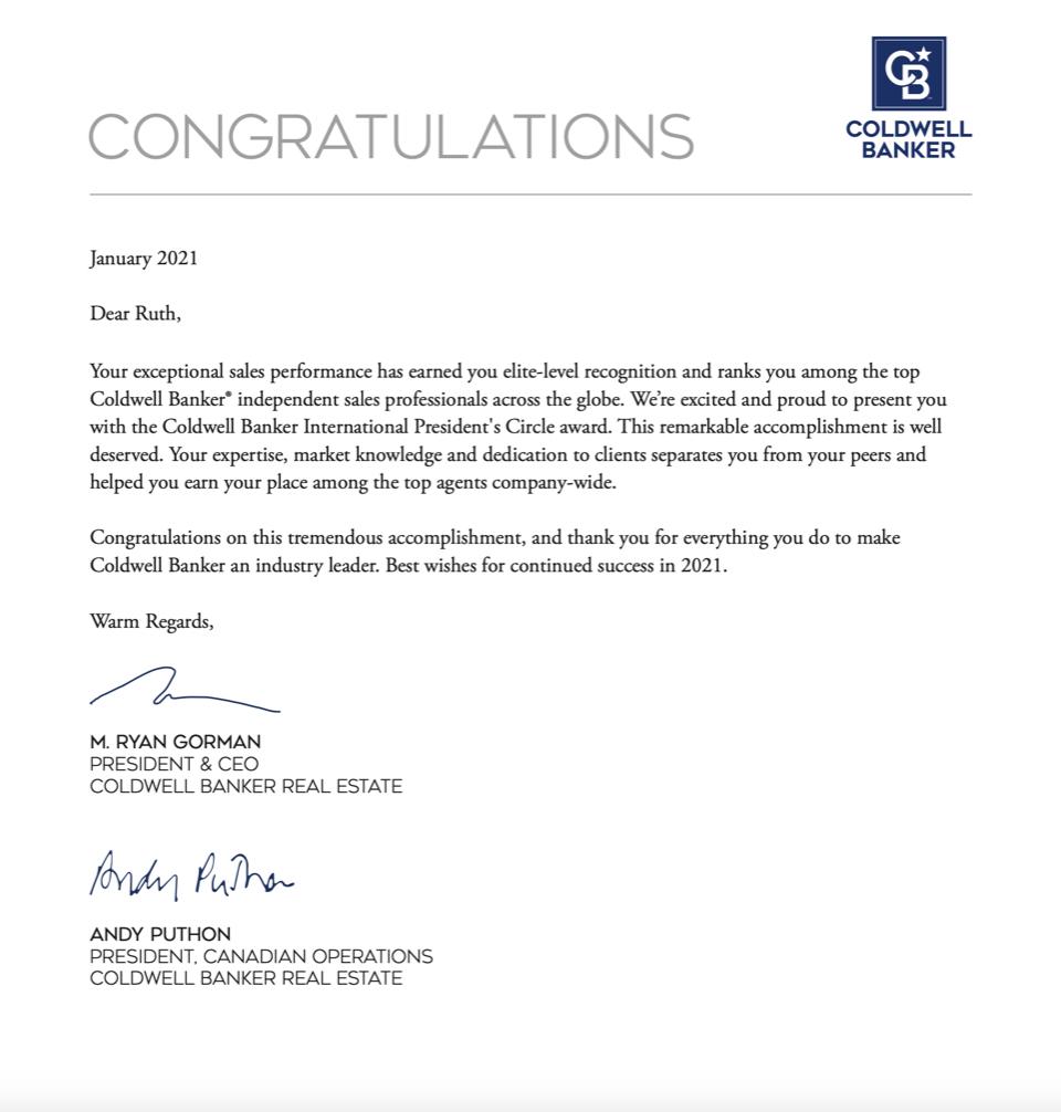Ruth Alexander 2020 International Award - Letter