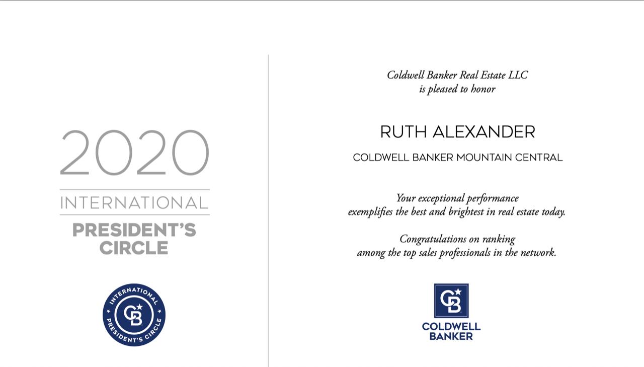 Ruth Alexander 2020 International Award