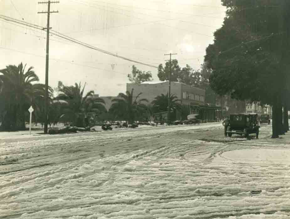 1921 Photo of snow on Hollywood Blvd.