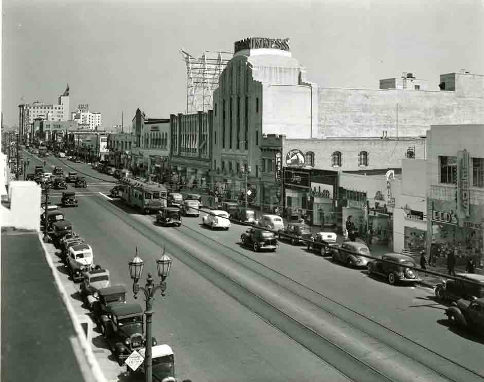 Historic photograph of Hollywood Blvd. in 1936