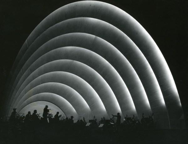 Early photo of Hollywood Bowl at night