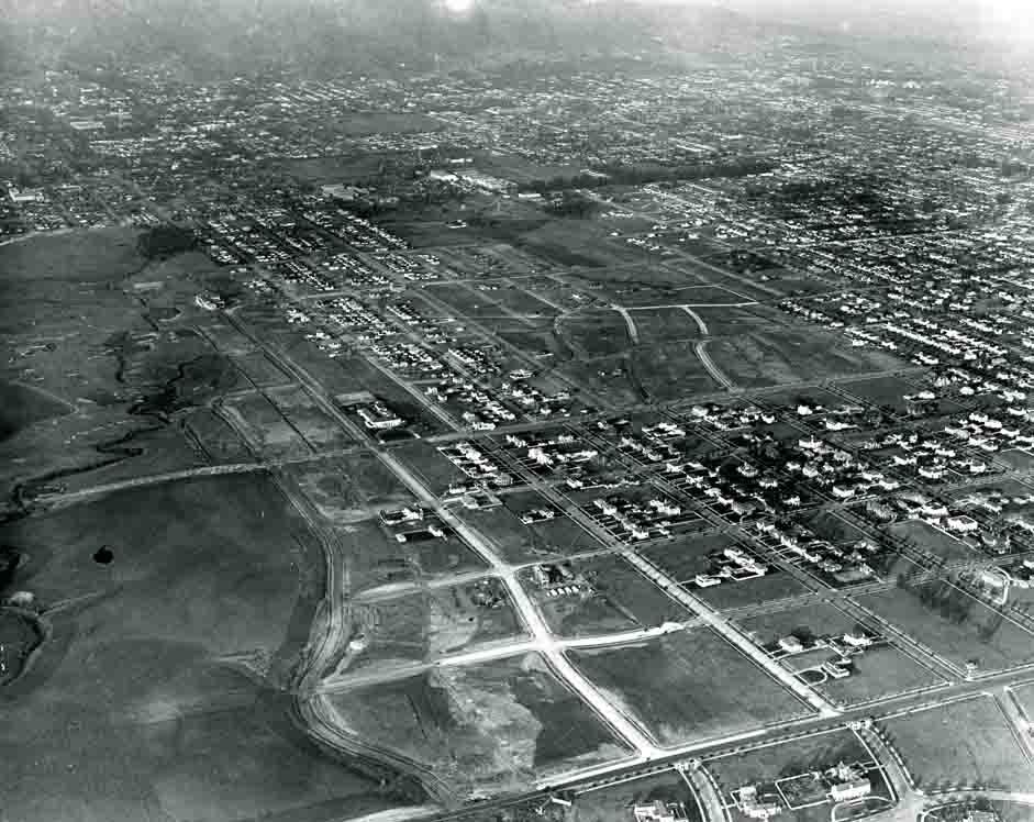 Vintage aerial photo of Hancock Park