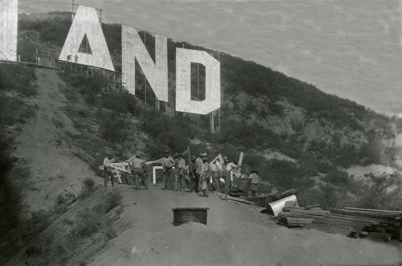 Photo of Construction of Hollywoodland sign