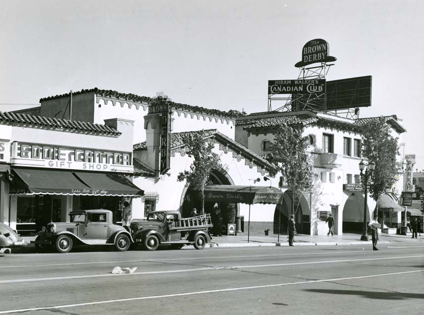 Vintage photo of Hollywood Brown Derby restaurant