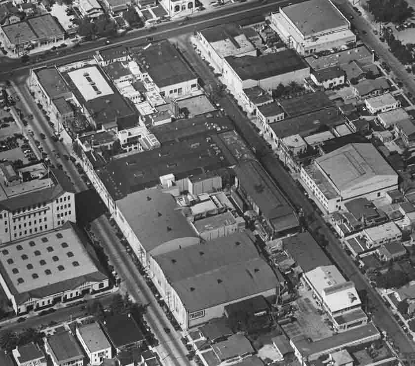 Aerial photo of Hollywood movie studios