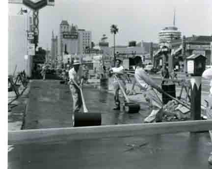 Photo of the construction of Hollywood Walk of Fame