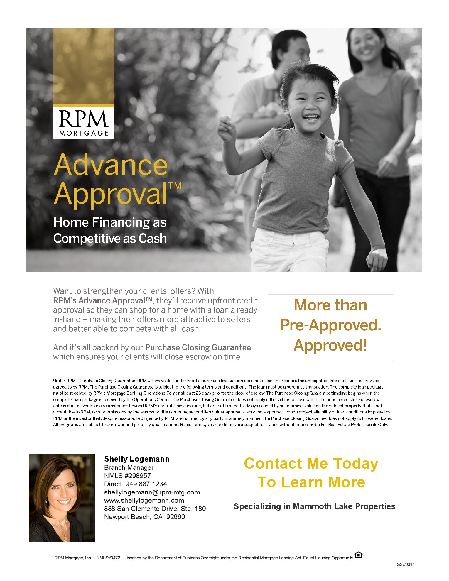 Advanced Approval flyer