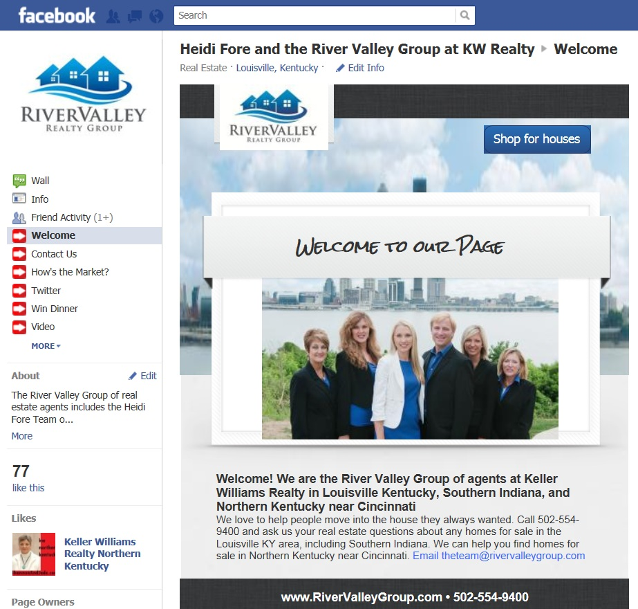 Facebook page for real estate information in Louisville Kentucky Southern Indiana Cincinnati Oh and Northern Kentucky