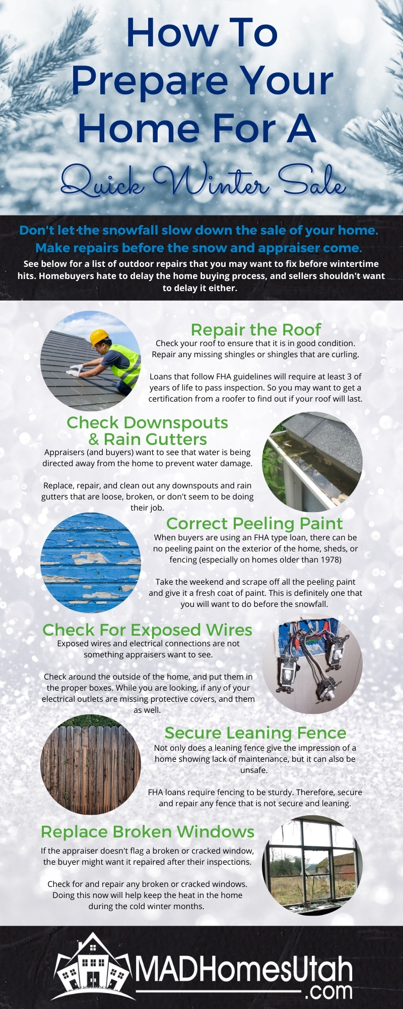 Infographic of six things to do to prepare your home for FHA financing