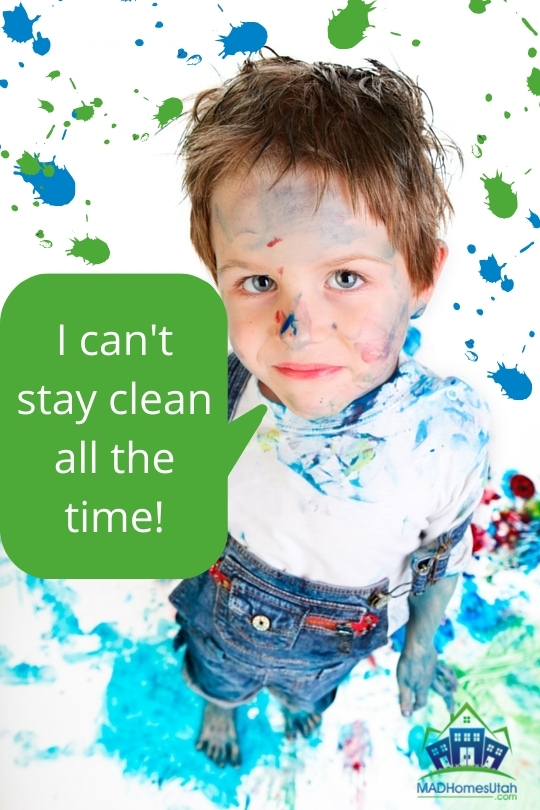 Image Of Boy Covered In Paint