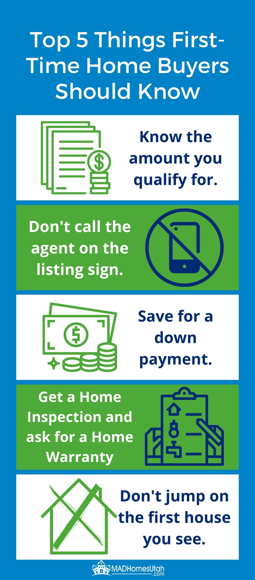 Infographic listing the top 5 things first time home buyers should know