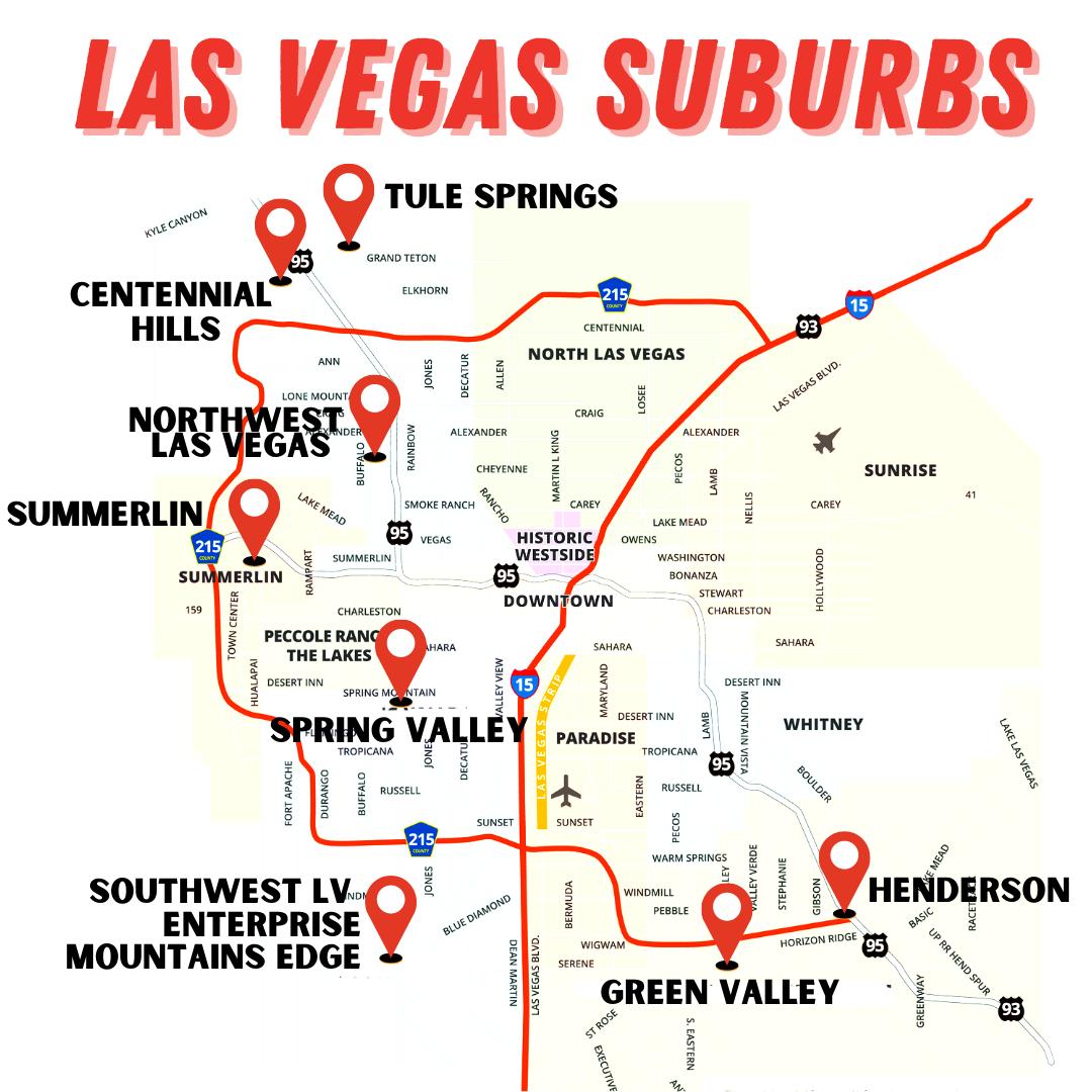 Las Vegas Suburbs Map - Suburbs in Las Vegas