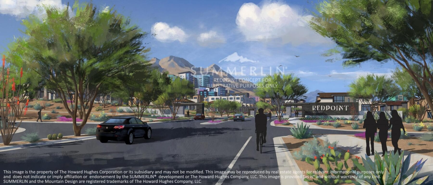 Redpoint Square in Summerlin West Illustrative Conceptual Rendering - Credit: The Howard Hughes Corporation