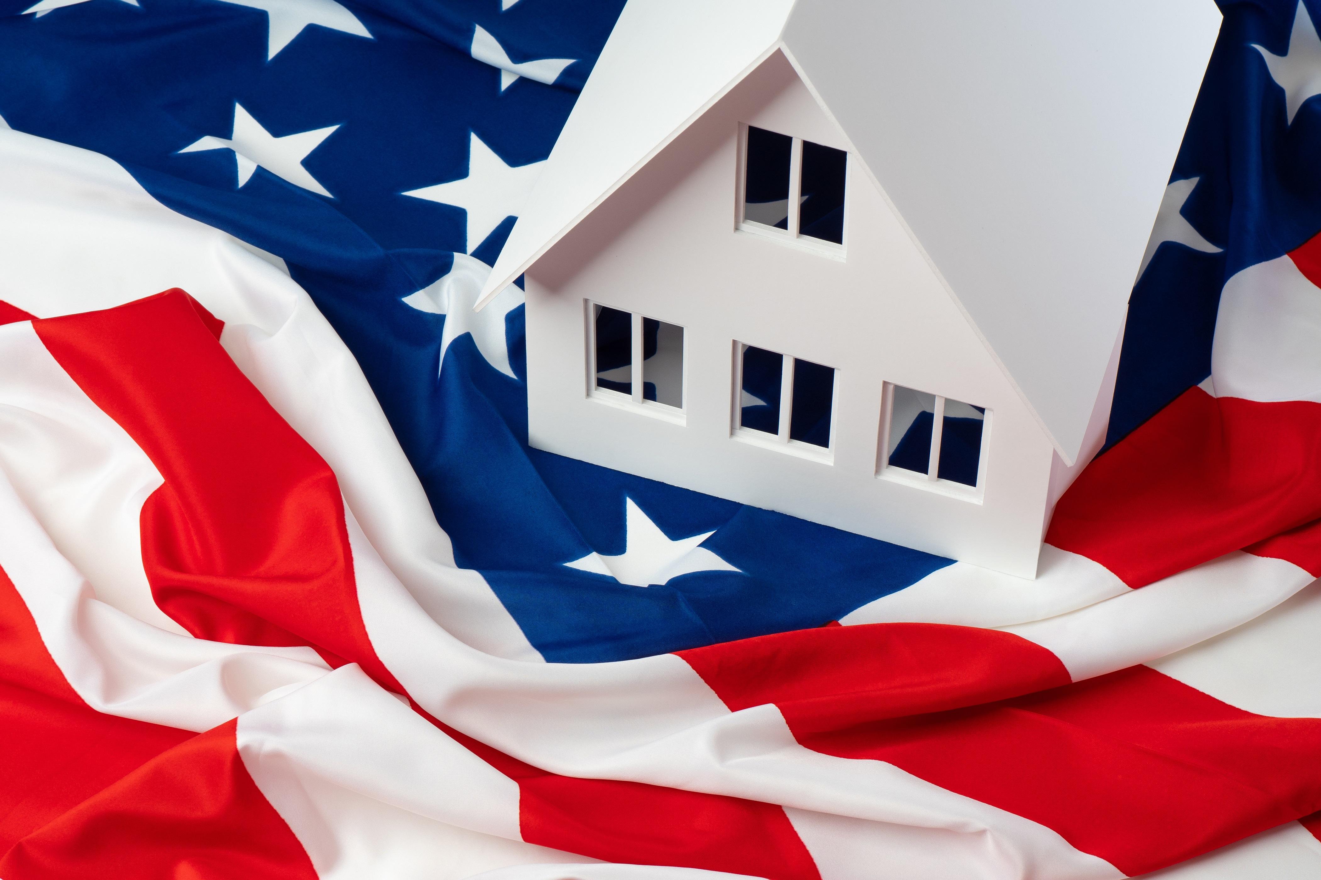 White House on American Flag