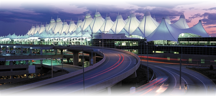 Denver's international airport is a short drive from the city center