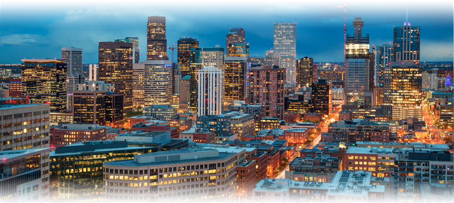 Downtown Denver at twilight