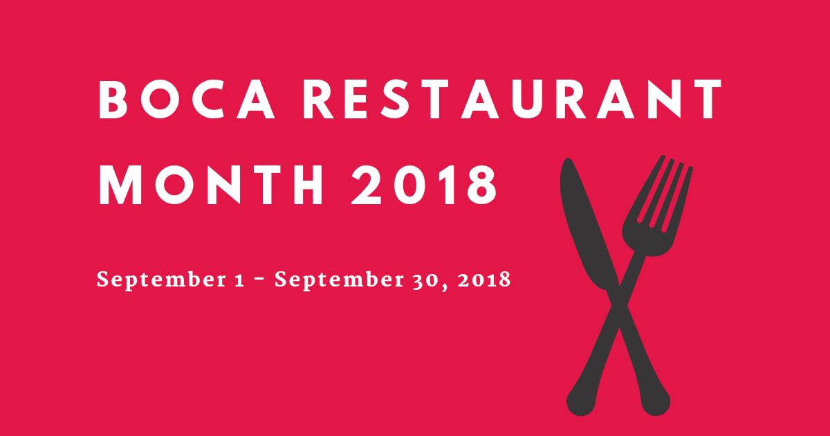 Boca Restaurant Month 2018