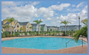 Poolside at Admirals Walk condominiums in Sarasota, Florida