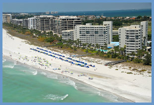 Aerial of beachfront condos