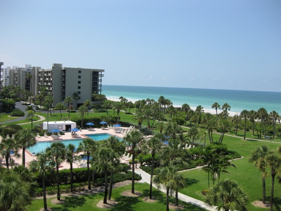 View of Pool and Recreation Area from a Beachplace Condo