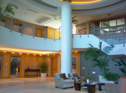Grand reception lobby of Beau Ciel in downtown Sarasota