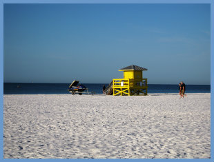 Lifeguard Stand, Public beach on Siesta Key