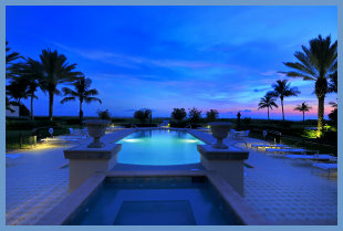 Twight light view of Longboat Key pool