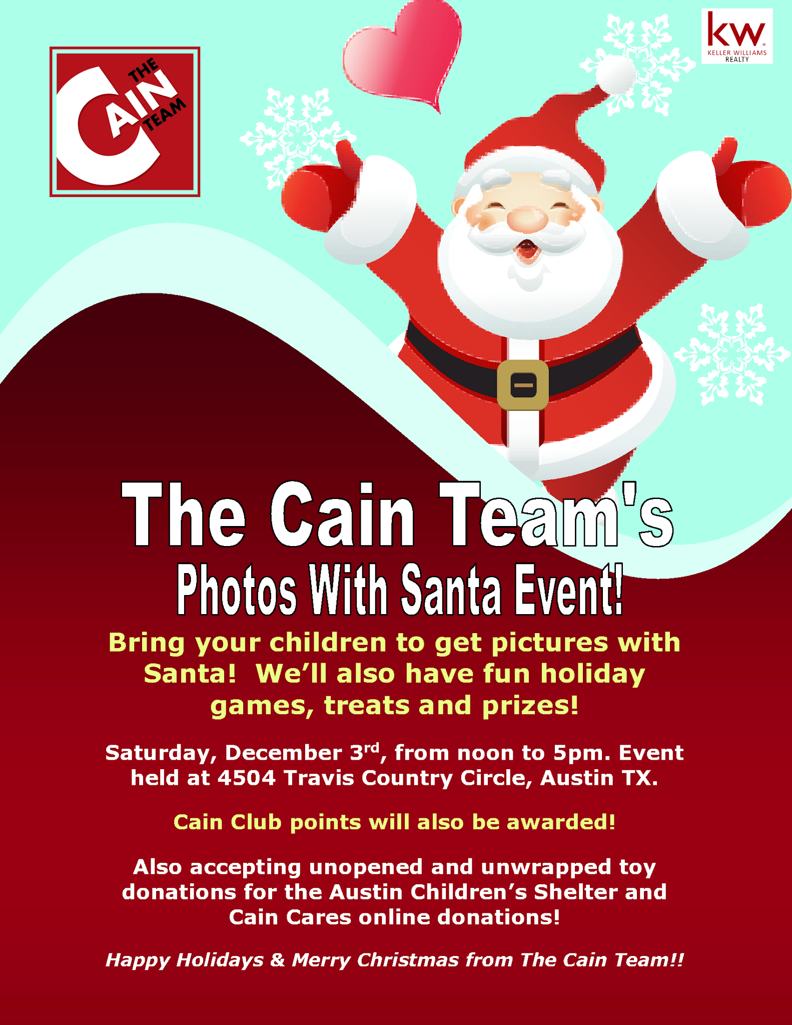 Cain Realty Group Photos with Santa Event