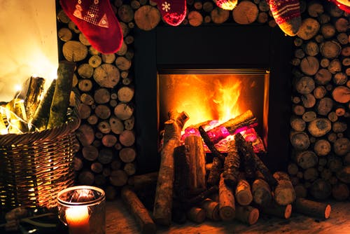 Christmas Decorations around the fire