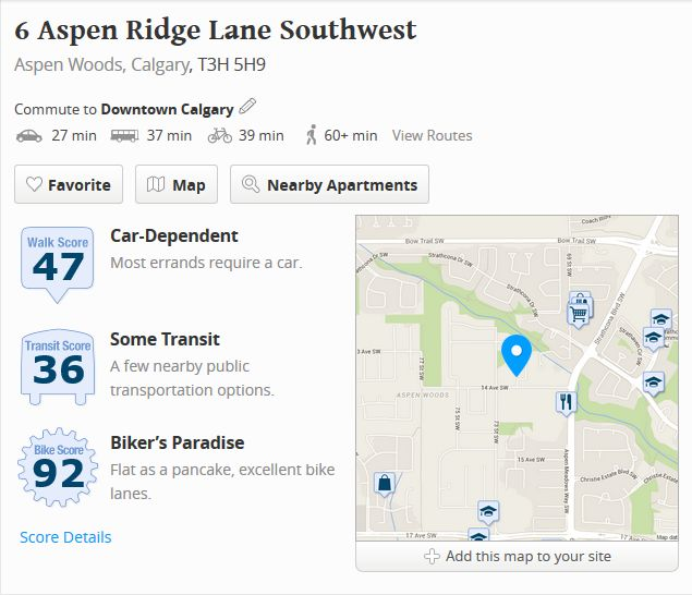 Walkscore of 6 Aspen Ridge Lane Sw Calgary, AB T3H 5H9