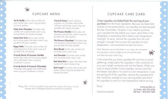 Crave Cookies and Cupcakes Menu