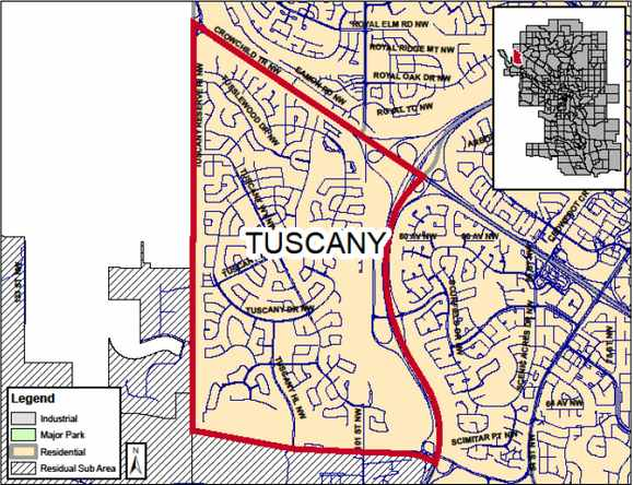 Tuscany, Calgary Real Estate Map